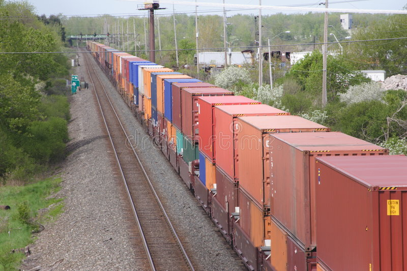 Train of Shiping Containers royalty free stock photo
