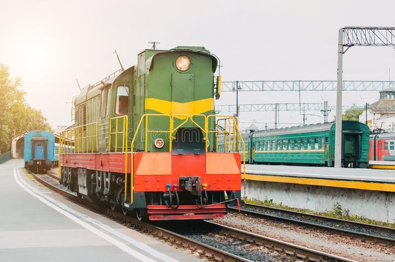 Train, shunting locomotive on the passenger platform. Train, shunting locomotive on the passenger platform stock images