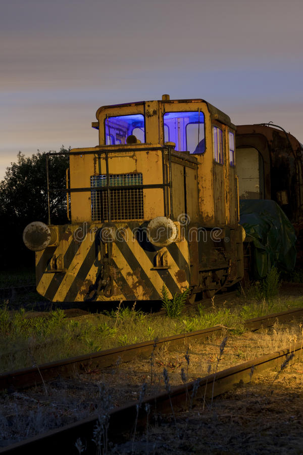 Train At Sidings Light Painted Royalty Free Stock Photography
