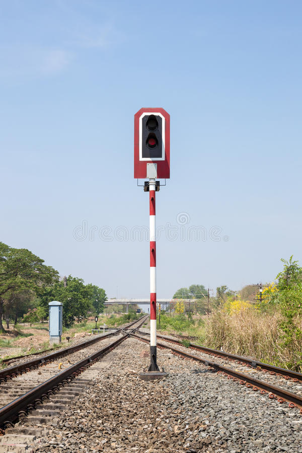 Train signals for railway and and traffic light stock images