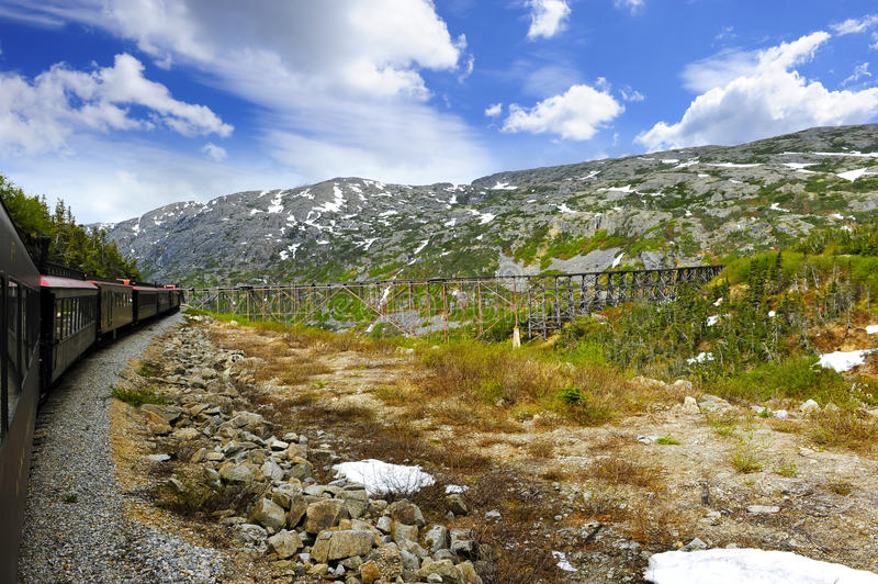 Train from Skagway to White Pass stock photo