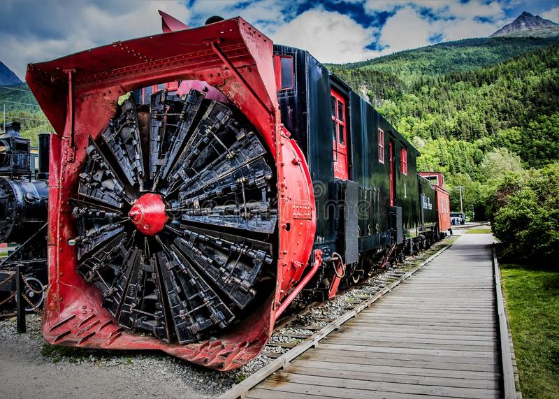 Train snow blower in Skagway stock photography