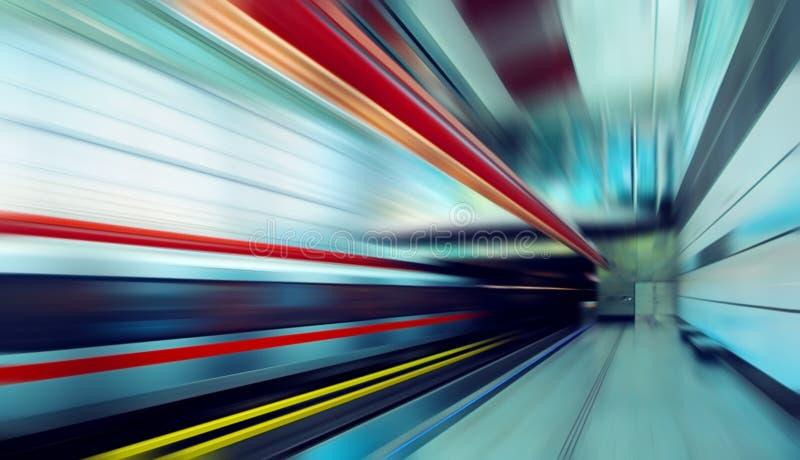 Train on speed. In railway station
