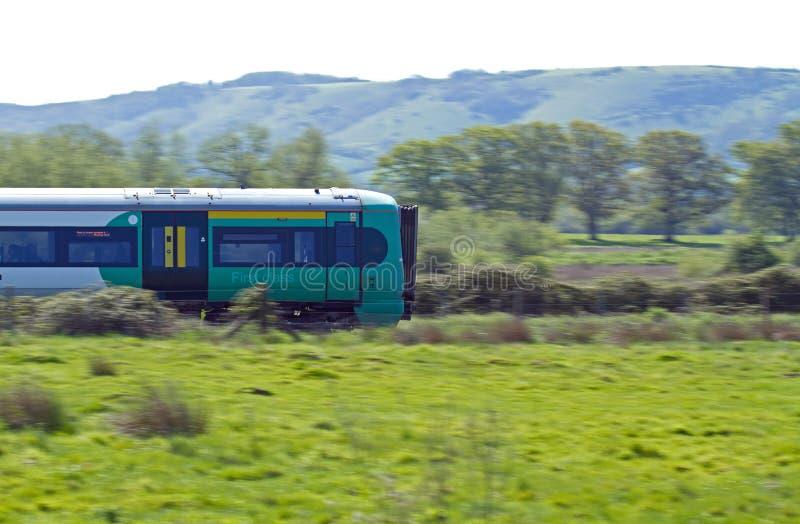 Train Speeding through Countryside