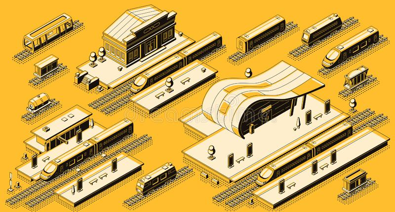 Train station with locomotive isometric vector set. Train station buildings with platforms and electric, diesel locomotives with passenger and freight wagons on vector illustration