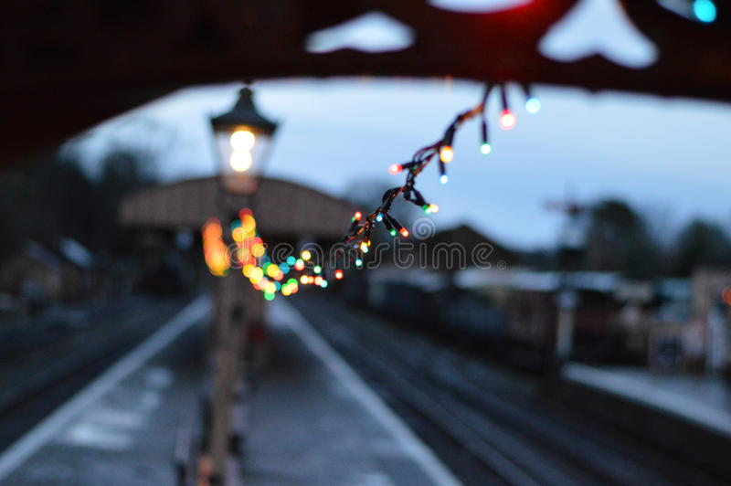 Train Station at Christmas royalty free stock photo