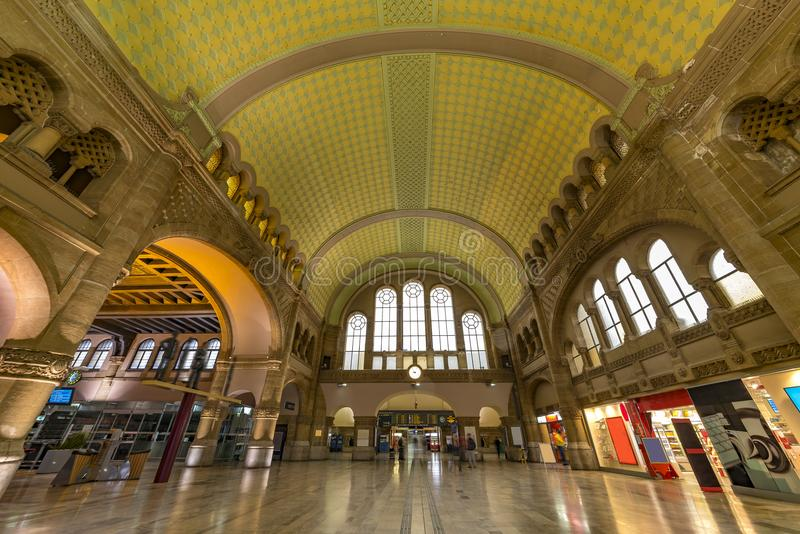 Train station entrance hall. Main train station entrance hall of Metz, Est French city annexed by Germans during decades registered in the Unesco World Heritage stock images