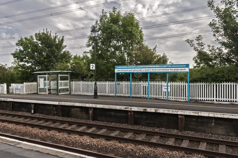 Train Station at LLanfairpg. royalty free stock image