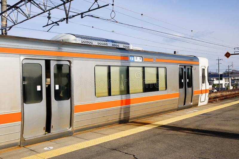 The train at the station in Nagoya, Japan. The JR train at the station in Nagoya, Japan royalty free stock photo