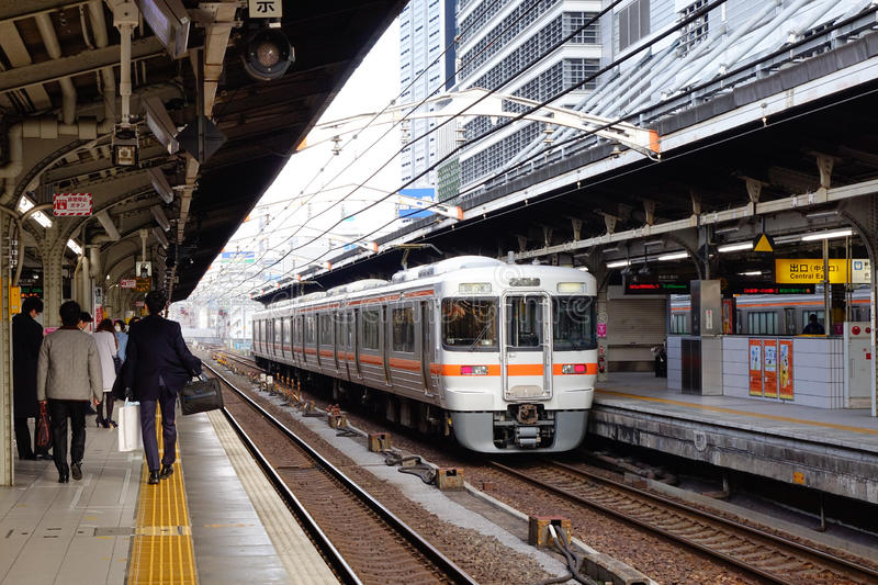 The train at station in Nagoya, Japan. The train stopping at station in Nagoya, Japan stock photography