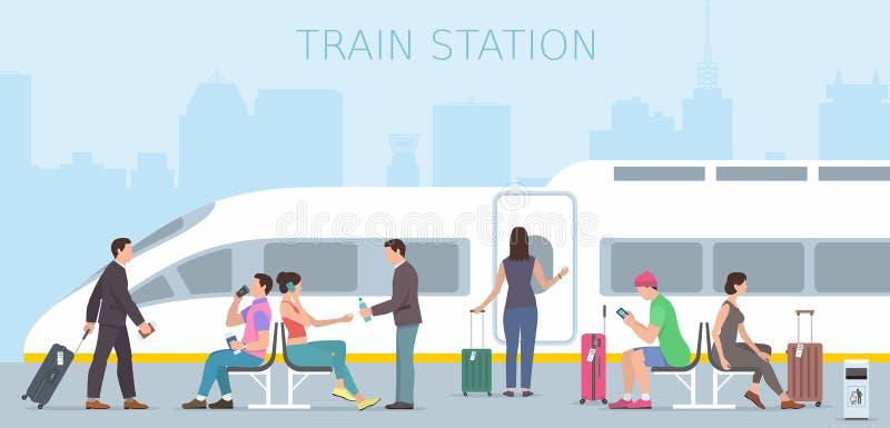 Train station. People travel train station. Flat design royalty free illustration