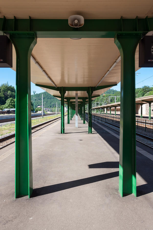 Train station pillars royalty free stock images
