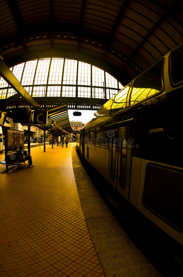 Train at station platform. A view of a modern train at the platform in the Copenhagen train station royalty free stock images