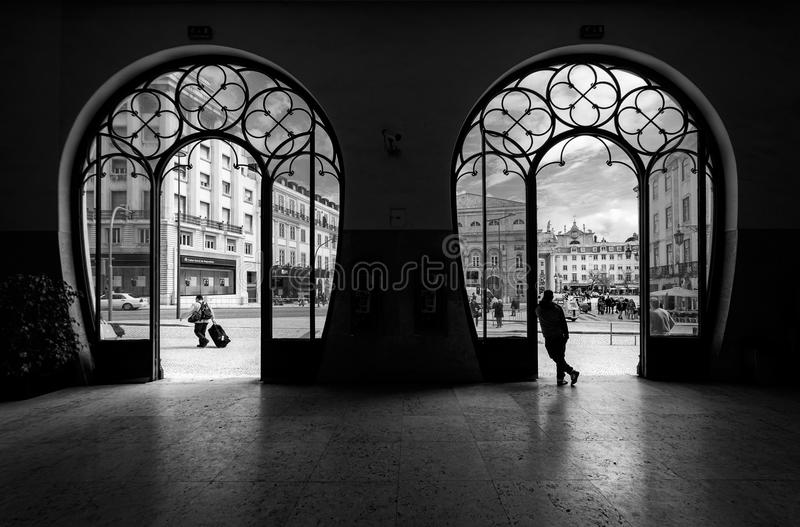 Train station Rossio. Old city of Lisbon. Portugal. black and white stock photography