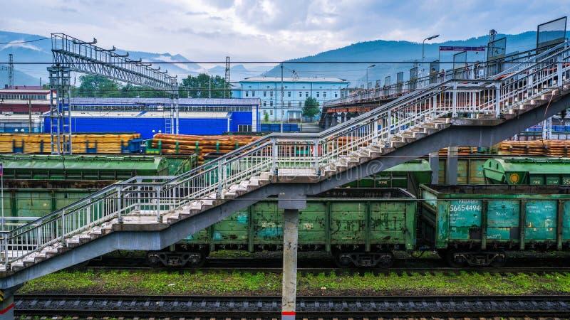 Train station slyudyanka near lake Baikal, Irkutsk, Siberian, Russia. beautiful views. Of this old station royalty free stock images