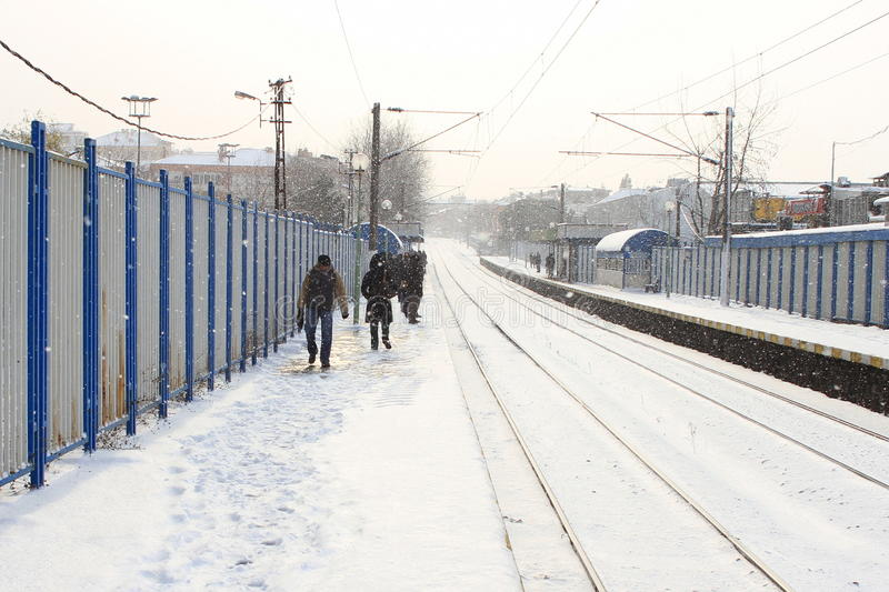 Download Train station in the snow editorial stock photo. Image of platform - 26713613