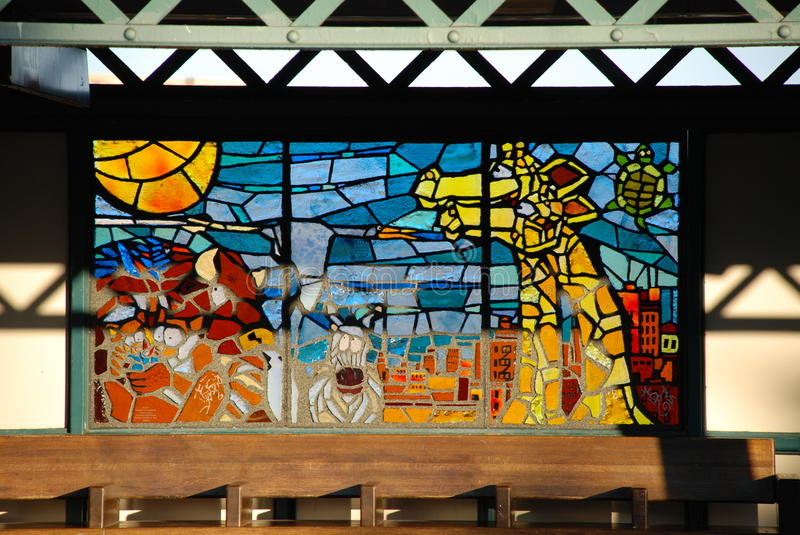 Train station stained glass. At Bronx Zoo Subway Station in New York royalty free stock image