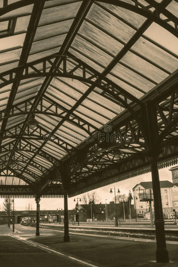 Train station steel roof. A shot of Stirling Train station steel roof stock photos