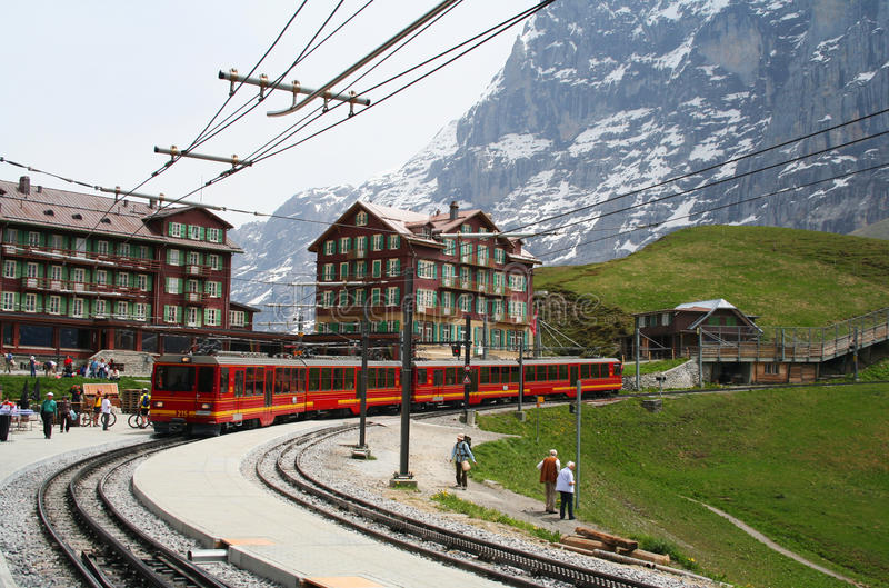 Train station in the Swiss Alps