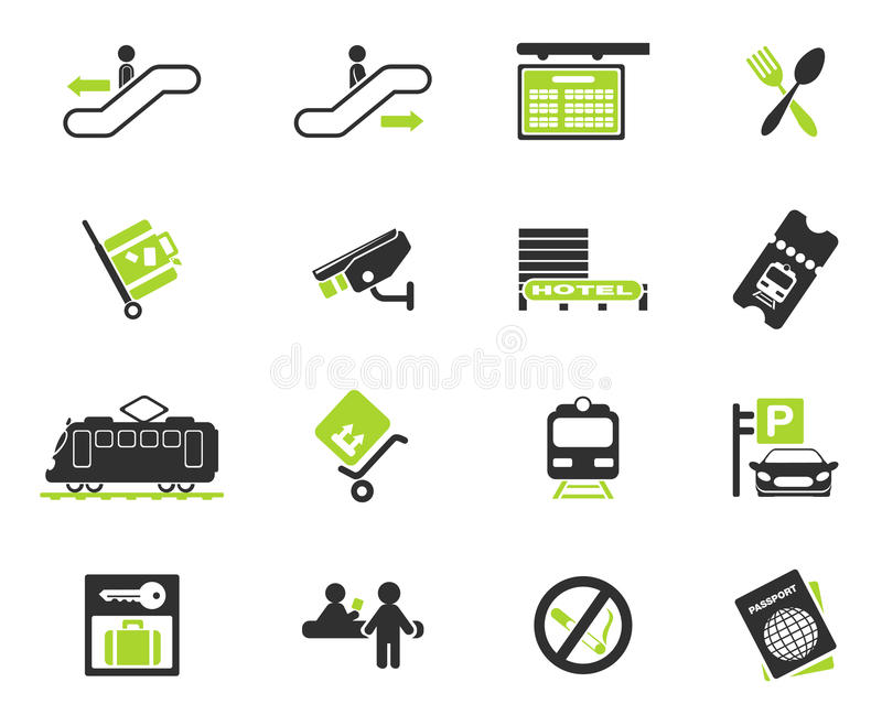 Train station symbols. Train station simply symbols for web and user interface vector illustration