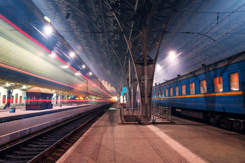 Train station with trains. Lviv train station with trains. Night photo royalty free stock photography