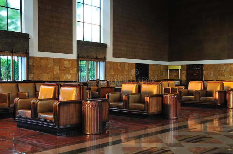 Train station waiting room. The elegant waiting room of Union Station in Los Angeles royalty free stock photo