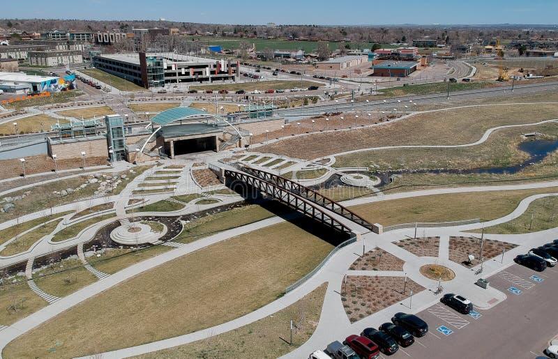 Train station, Westminster, Colorado. Aerial view of light rail train station in Westminster, Colorado, USA stock photos