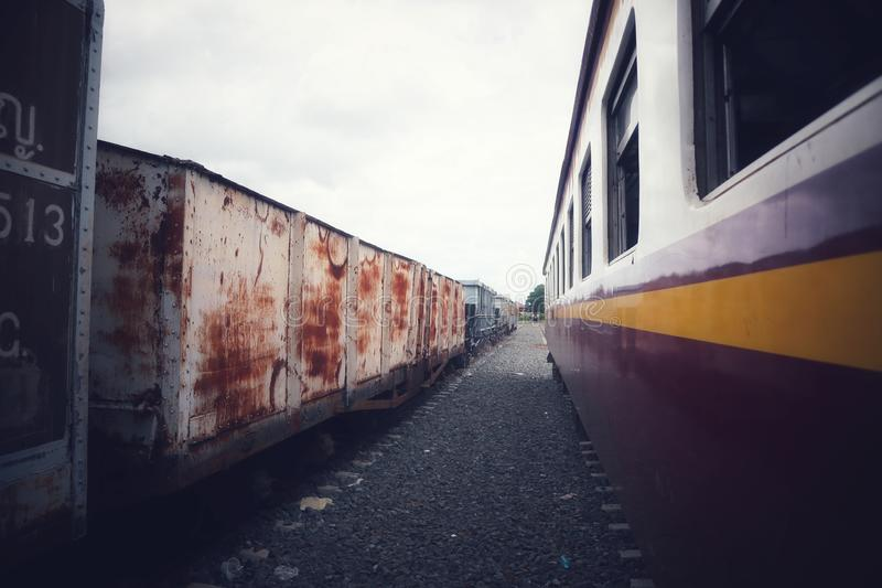 Train stations in Asia have old and new trains parked in the sky background. Thailand royalty free stock photo