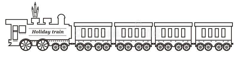 Train, steam locomotive and wagons stock illustration