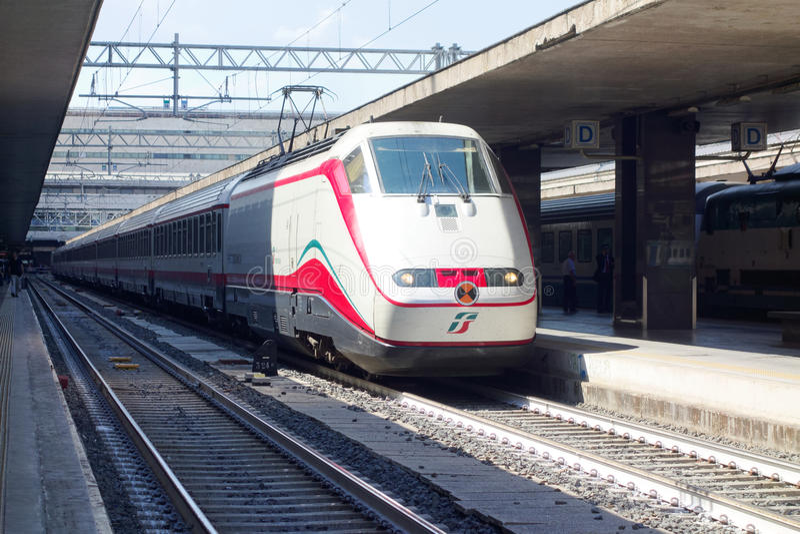 Train stops Roma Termini railway station royalty free stock photo