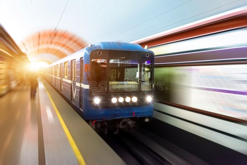 Train in subway metro train railway speed tunnel platform. royalty free stock photo