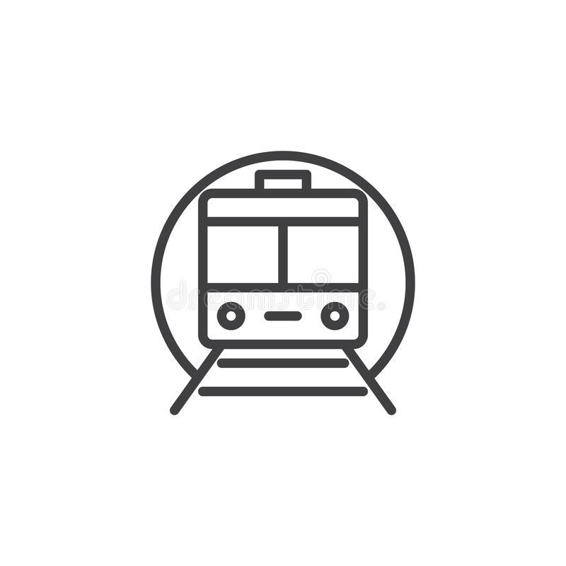 Train subway outline icon. Linear style sign for mobile concept and web design. Metro simple line vector icon. Symbol, logo illustration. Pixel perfect vector vector illustration