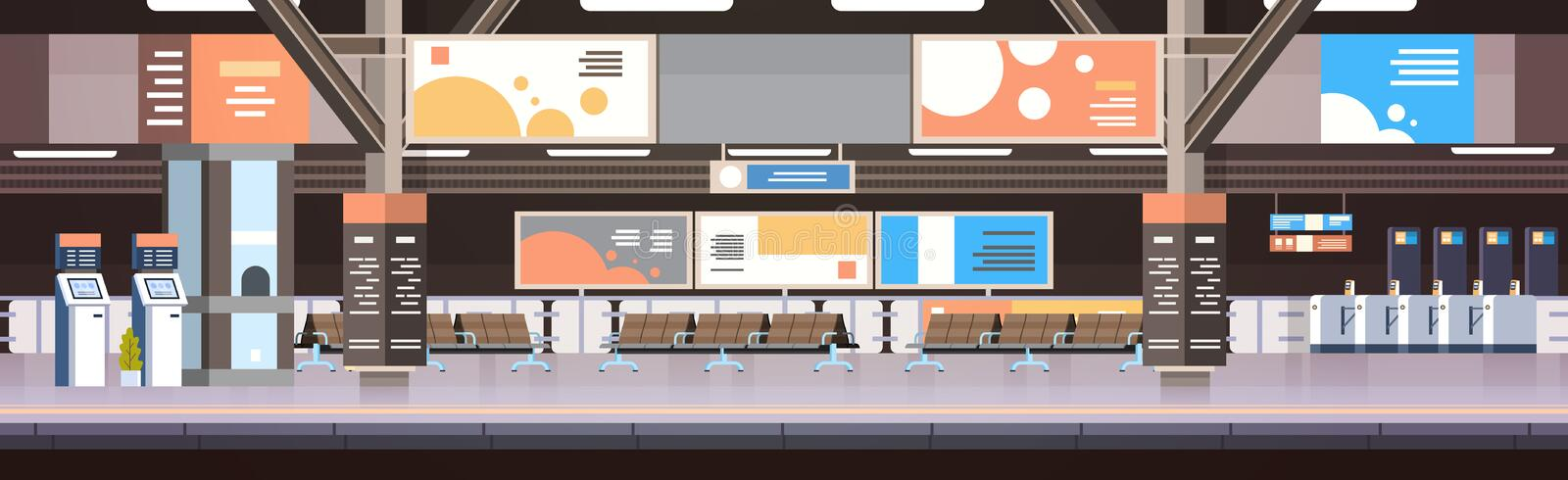 Train Subway Or Railway Station Interior Empty Platform With No Passengers Transport And Transportation Concept. Flat Vector Illustration stock illustration