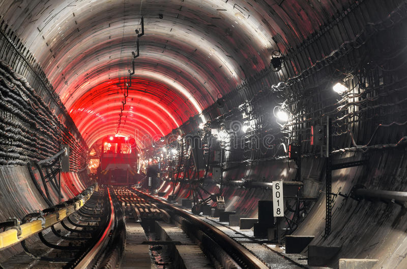Train in subway tunnel stock photography