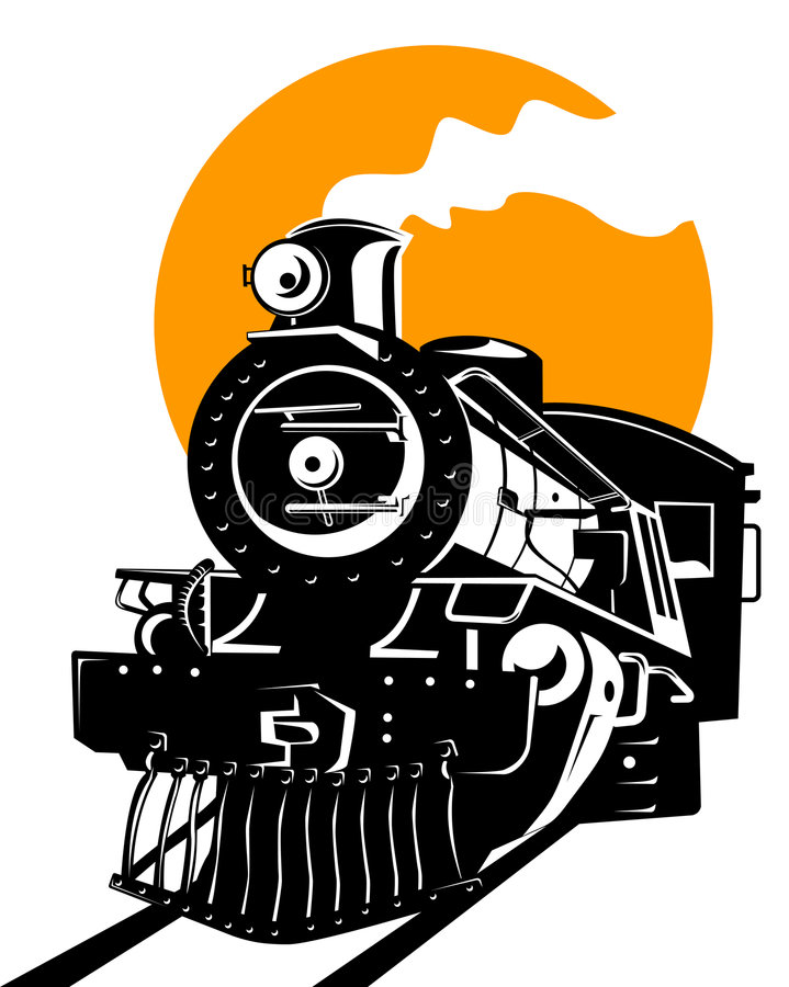Train with sun stock illustration