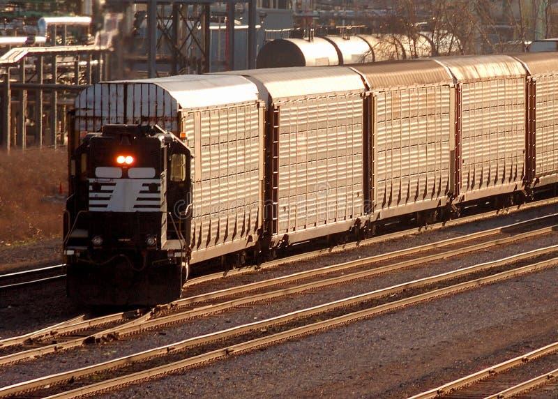 Train switching tracks royalty free stock photo