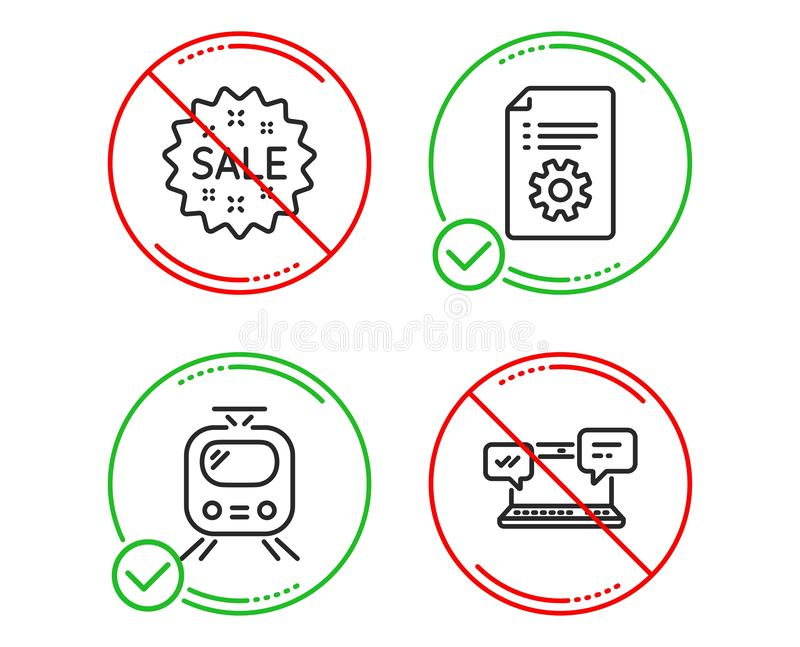 Train, Technical documentation and Sale icons set. Internet chat sign. Tram, Manual, Shopping star. Vector. Do or Stop. Train, Technical documentation and Sale stock illustration