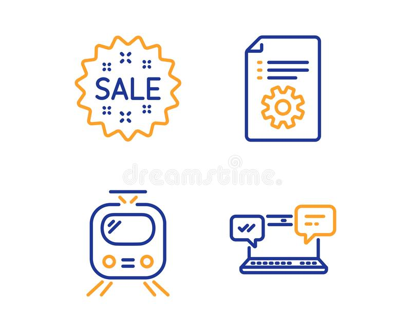Train, Technical documentation and Sale icons set. Internet chat sign. Tram, Manual, Shopping star. Vector. Train, Technical documentation and Sale icons simple vector illustration
