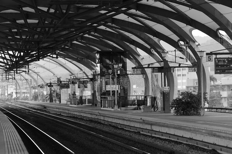 Train Terminal Gray Scale Photo royalty free stock photography