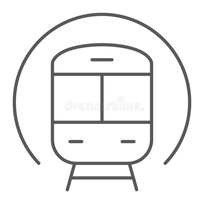 Train thin line icon, railway and travel, subway sign, vector graphics, a linear pattern on a white background. vector illustration