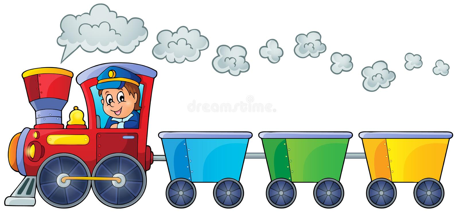 Train with three empty wagons. Eps10 vector illustration royalty free illustration