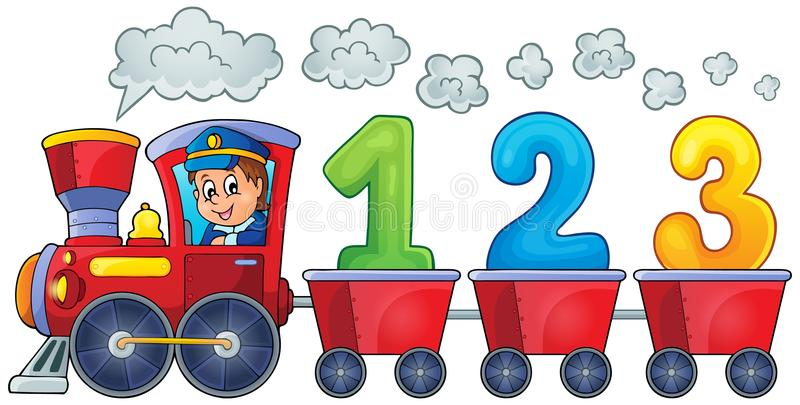 Train with three numbers royalty free illustration