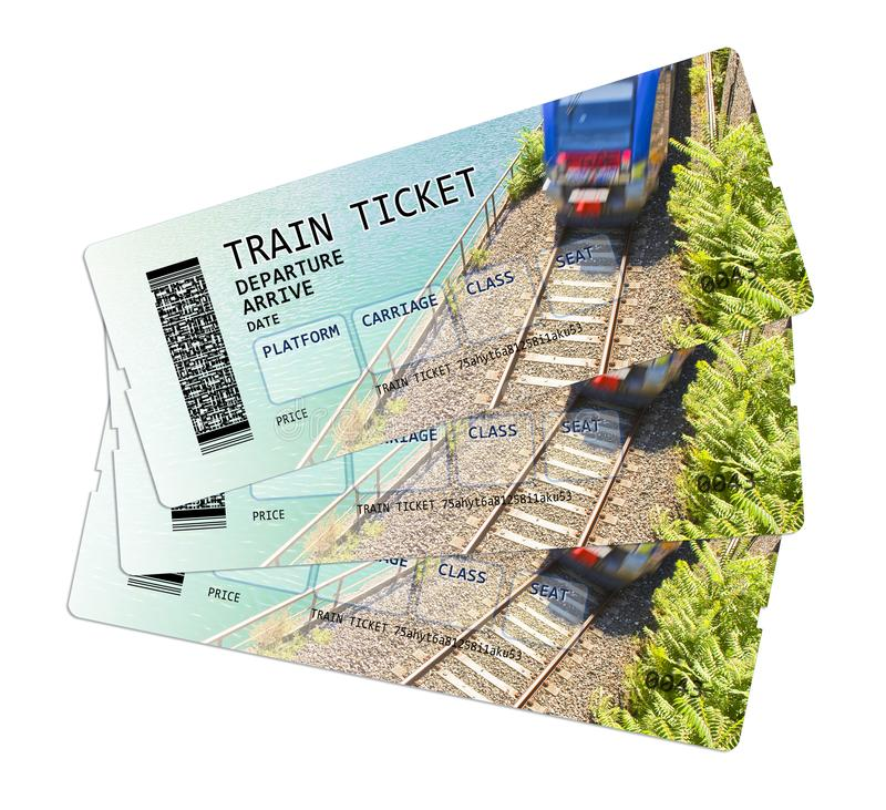 Train ticket concept image. The contents of the image are totally invented. The background image, with train, is a picture of my property stock photos