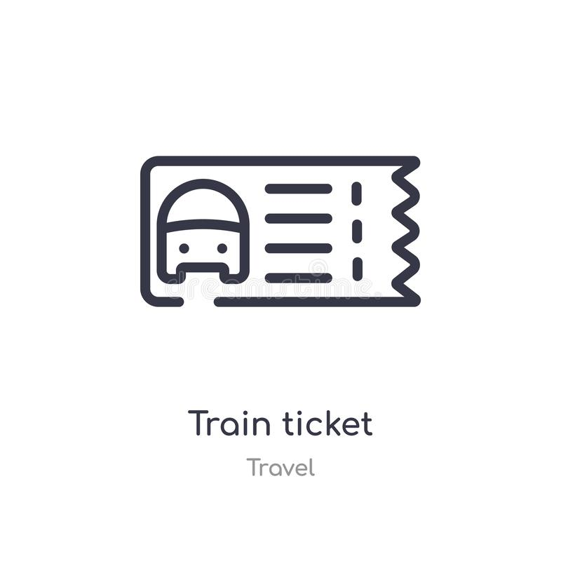 Train ticket outline icon. isolated line vector illustration from travel collection. editable thin stroke train ticket icon on. White background royalty free illustration