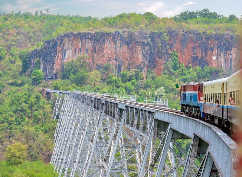 Train to Hsipaw On Oldest Train Trestle in Myanmar stock images