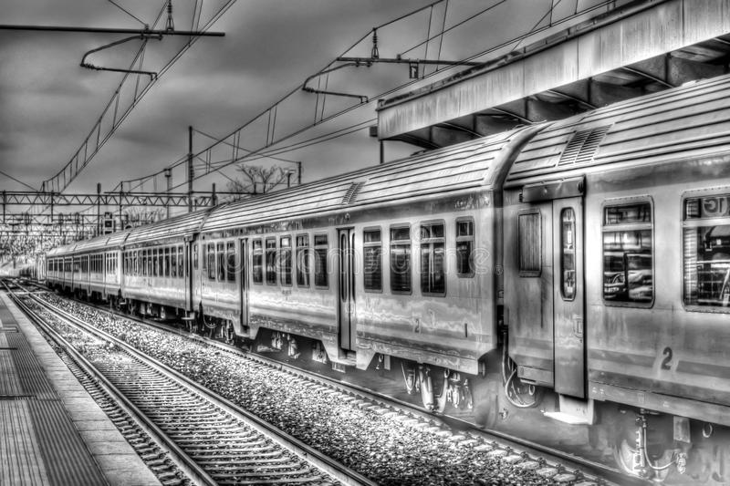 The train is about to leave for new journeys. Finally we leave and we arrive at a dreamed journey royalty free illustration