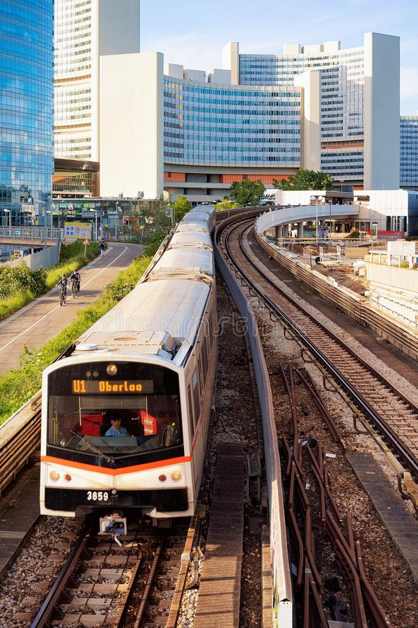 Free Train To Oberloo At Railway Station In Donaustadt In Vienna Royalty Free Stock Images - 161221319
