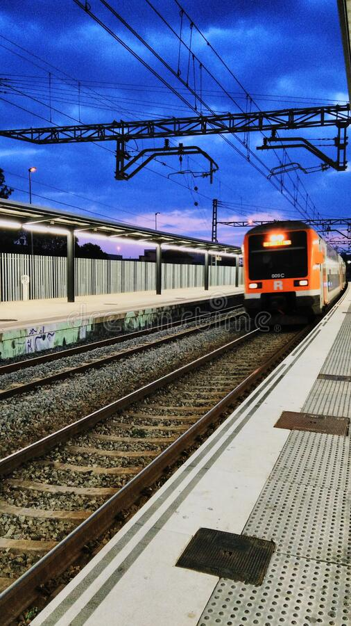 Train to station royalty free stock photography
