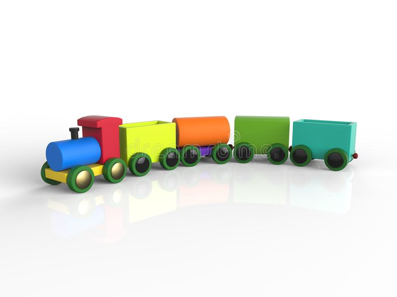 Train Toddler Toy for little children, isolated on white. Background with shadow reflection. 3D image royalty free illustration
