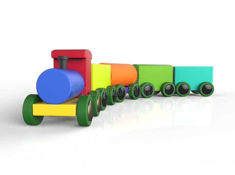 Train Toddler Toy for little children, isolated on white. Background with shadow reflection. 3D image stock illustration